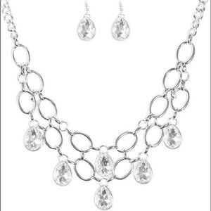 Show-Stopping Shimmer White Prom Necklace Earrings